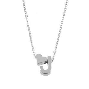 Jewelry - Dainty Silver Heart & J Initial Necklace
